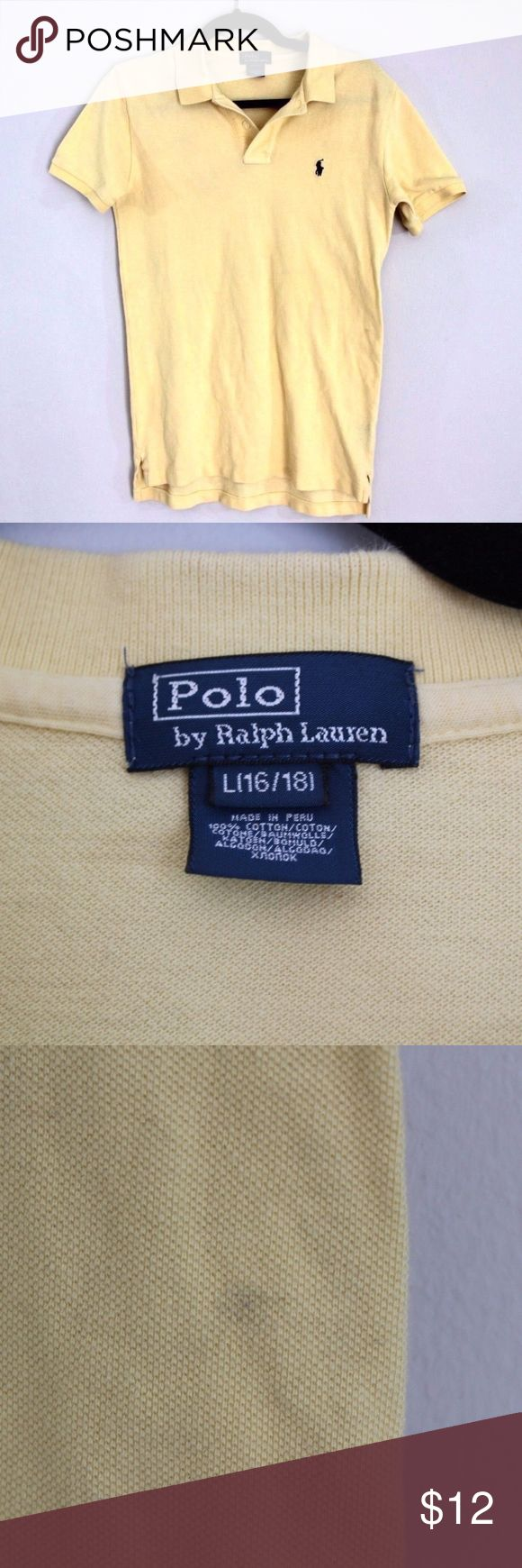 Boys Large Polo Ralph Lauren Golf Polo Shirt Polo by Ralph Lauren Boys Shirt  Excellent shirt  Mark on the back  The size is Large and the measurements are 18 inches pit to pit and 26.5 inches shoulder to base  Yellow with Blue Pony logo  100% Cotton   Check out my other items for sale in my store!  M2 Polo by Ralph Lauren Shirts & Tops Polos