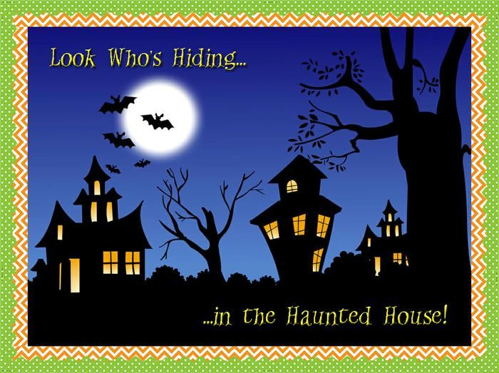 Look Who's Hiding in the Haunted House! | October Bulletin Board Idea