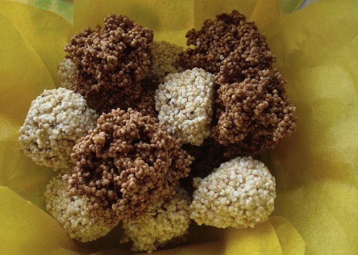 Enjambres de amaranto con 3 chocolates. Puede ser un buen regalo en papelitos de colores y en una caja.