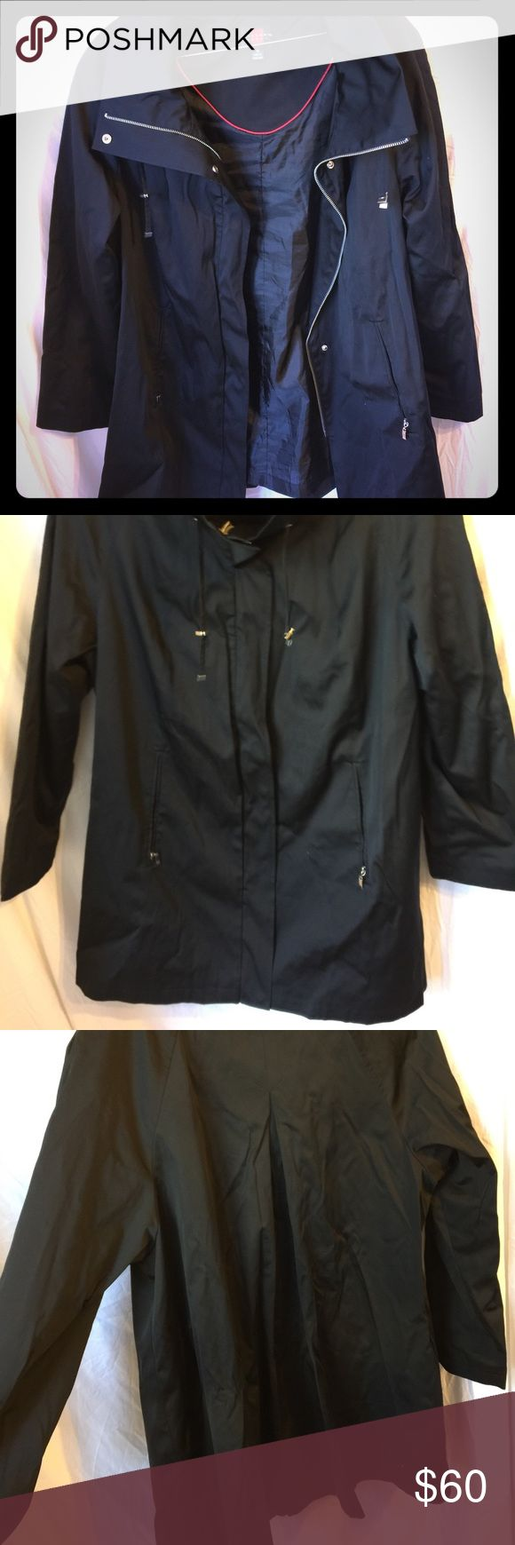 Gallery A-Line Water Resistant Coat Size 1X Excellent condition.  Never actually been worn just been in my storage in an airtight container (which is why it's a bit wrinkled in the pics). One snap is broken but this has a zipper closure. I will post measurements asap! Gallery Jackets & Coats