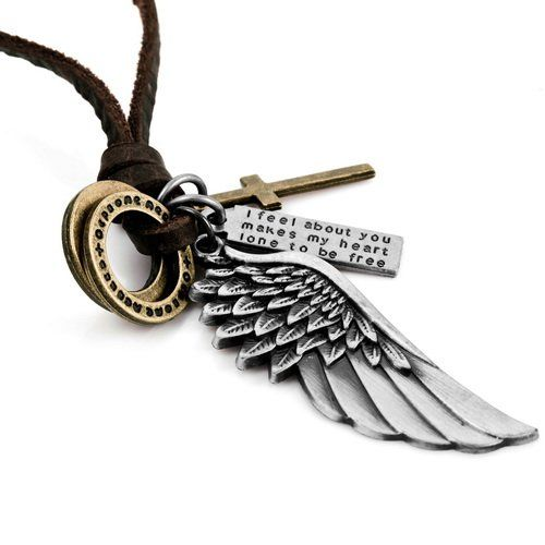 Justeel Homme Argent Or Traverser Ange Aile Pendentif Collier ,avec la Chaîne, avec boîte-cadeau | Your #1 Source for Jewelry and Accessories