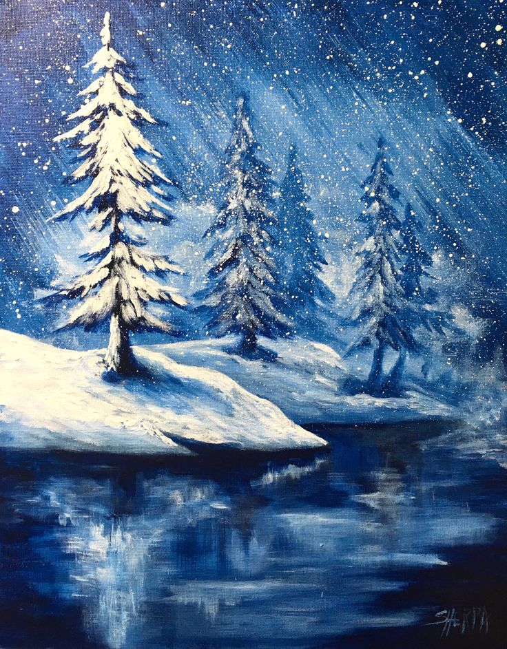 Easy Winter Landscape with frozen lake Step by step on canvas for beginners Free Video Art class By the Art Sherpa