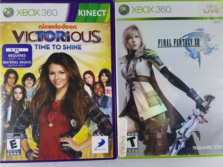 Lot of 2 XBox 360 Video Games FINAL FANTASY XIII & VICTORIOUS w/Case&Instruction #XBox360