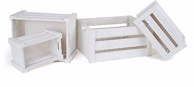 Set 4 cassette legno bianche - idea regalo casa - shabby - decorazione - country