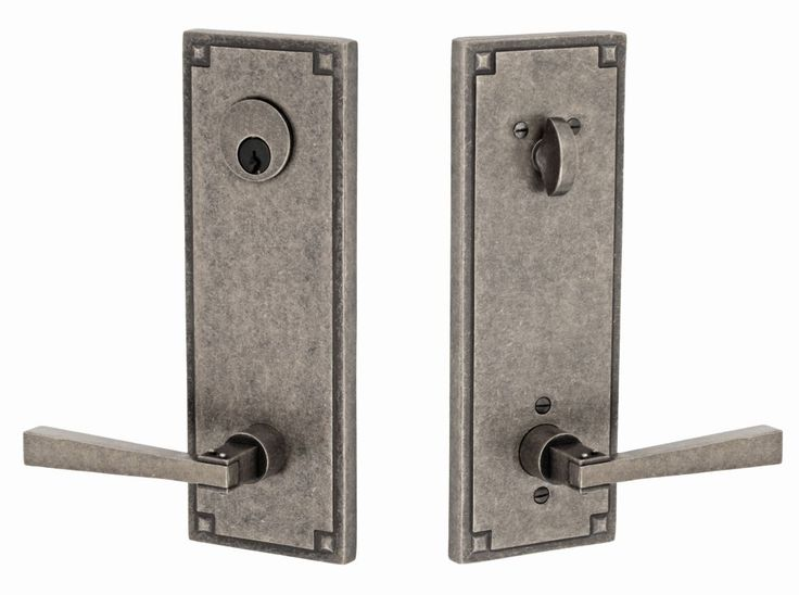 Miseno E-AY-07 Mission Solid Brass Single Cylinder Keyed Entry Door Lever Set wi Antique Pewter Leverset Keyed Entry Single Cylinder