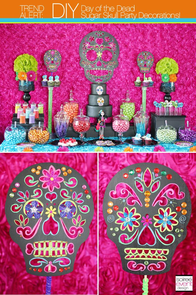 DIY: How to Make Day of the Dead Sugar Skull Party Decorations Tutorial on Soiree-EventDesign.com/blog