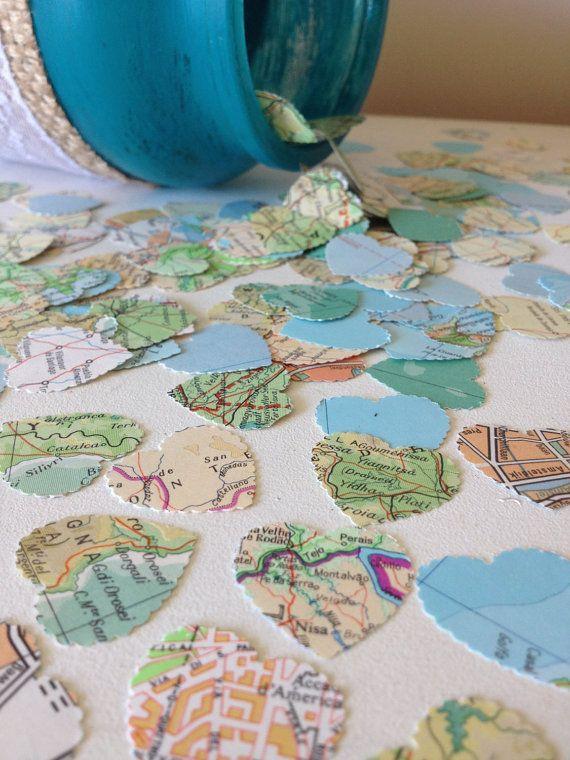 Map crafts as decoration theme?  Vintage Atlas Paper Heart Confetti Wedding Confetti Bridal Shower Table Decor Wedding Decor Photo Prop Vintage Shabby Chic Bon Voyage