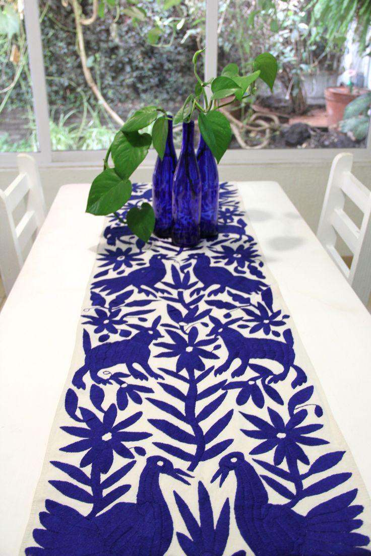 PRE ORDER Cobalt Blue Hand Embroidered Otomi Table runner ...