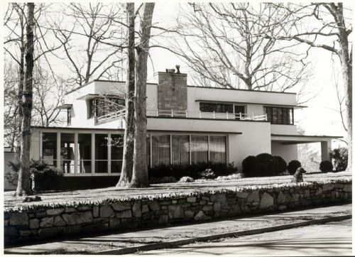 Located in Montford, this International Style home was completed in 1948. Home constructed of concrete block and cantilevers.