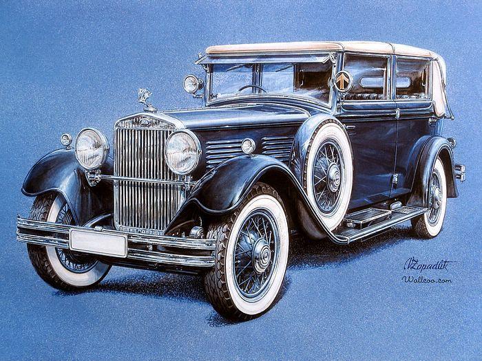 Vintage Cars and Racing Scene, Automotive Art of Vaclav Zapadlik  - Rolls Royce Vintage Cars illustration  Wallpaper  15