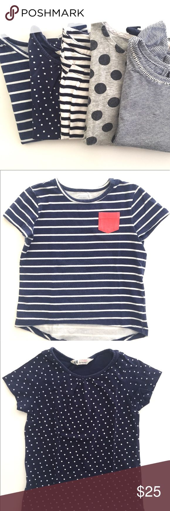 Stripes & Polka Dots Short Sleeve Bundle Adorable bundle of 5 short-sleeves. All pre-loved and gently worn. 100% cotton. Machine wash. Pet-free & smoke free home.  ♦️ Old Navy Hi-Lo Stripe w/ pink pocket (5T) ♦️ H&M Organic Navy w/ white Polka Dots (4-6T) ♦️ Crewcuts Polka Dot w/ front pocket (5T) ♦️ Gap Navy Blue Stripe (4-5T) ♦️ Old Navy Pinstripe w/ flutter sleeves (5T)  Hope you enjoy! J. Crew Shirts & Tops Tees - Short Sleeve