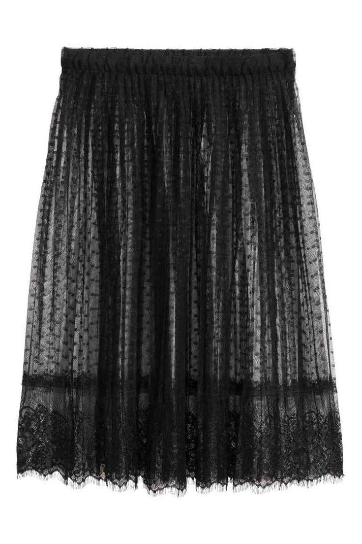 Knielange kanten rok - Zwart - DAMES | H&M NL