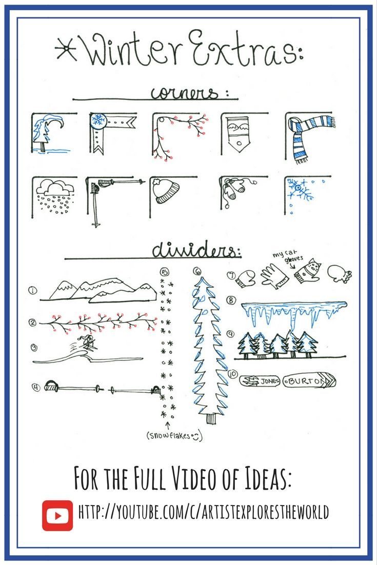 Winter Themen Bullet Journal Designs. Aufzählungszeichen … – #Bullet #Designs #Journ #Journal #themed