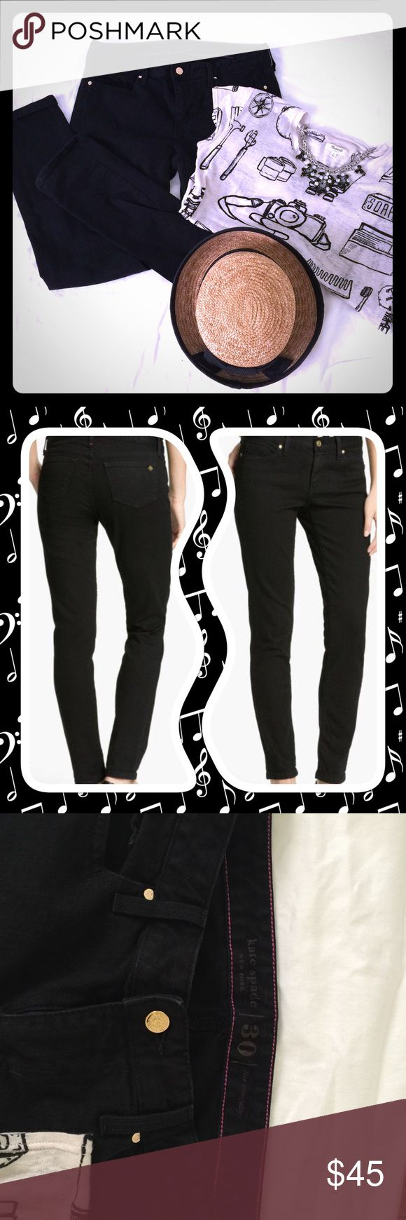 Kate spade black denim jeans w/gold button accents Great fitting jeans with just enough thickness & stretch to flatter your curves! Kate Spade Jeans Straight Leg