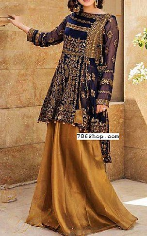 Blue/Golden Chiffon Suit | Buy Pakistani Fashion Dresses and Clothing Online in USA, UK