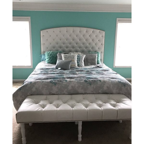 Crystal Diamond Tufted Headboard And Bench Set In Charcoal Linen