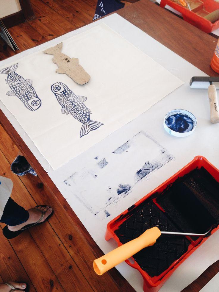 Block printed at the Lichen & Leaf Block Printing Workshop! http://lichenandleaf.com/pages/workshops