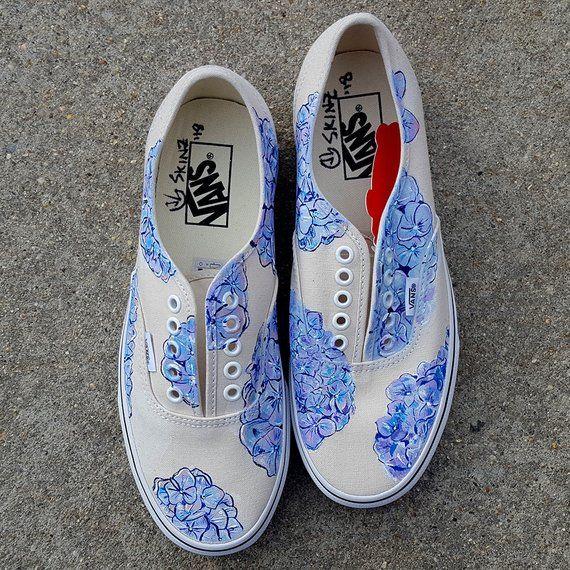 84f41305a67f4b Custom Hydrangea Vans Shoes