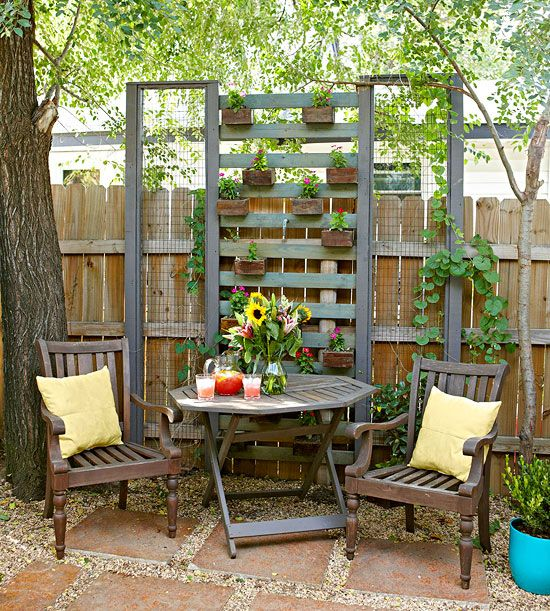 A pretty trellis defines and secludes an intimate garden seating spot. To make your own, carefully inspect pallets for solid construction, including straight nails (they're easy to remove). Then simply stack pallets, removing boards as desired. Stain or paint as needed and attach garden containers using brackets. Frames filled with chicken wire offer complementary bookends and spots for flowering vines, too. Most of the time, a crowbar, hammer, and gentle, methodical touch will be the only…