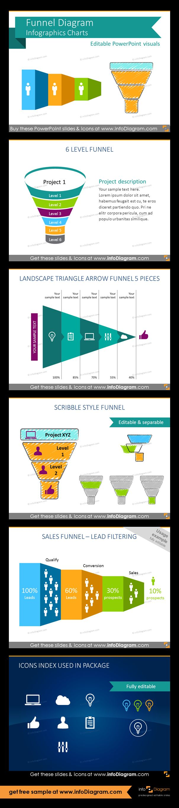 Predesigned Infographics shapes for showing various funnel processes on a slide. Suitable especially for marketing, sales and business development presentations. Marketing 6-level selling funnel, landscape triangle arrow funnel, scribble style funnel - example of editing, sales process pipeline - lead filtering, set of flat icon symbols for infographics: cloud, computer, bulb, thumbs up, man, document.