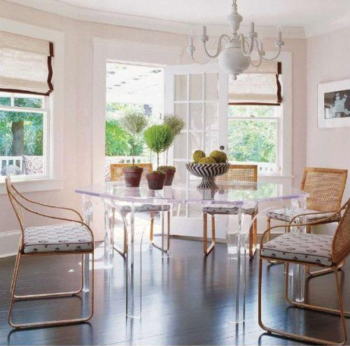 lucite dining table: Breakfast Rooms, Lucite Tables, Dining Rooms, Elle Decor, Kitchens Dining, Kitchens Tables, Pink Wall, Lucite Dining, Dining Tables