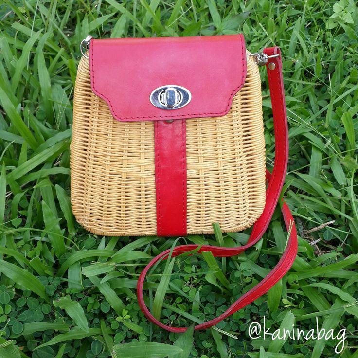 Handmade wicker purse sling