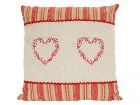 Potah na polštářek 40 x 40 cm Sladký domov dekor 2 vyšívaná srdce červená uprostřed