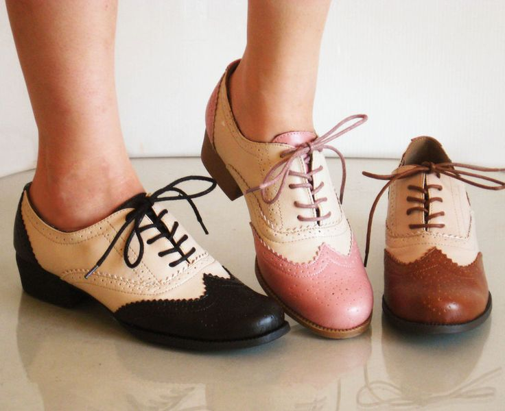 Comfy Classic Brogued Spectator Lace Up Oxfords L Heels in Clothing, Shoes & Accessories, Women's Shoes, Flats & Oxfords | eBay