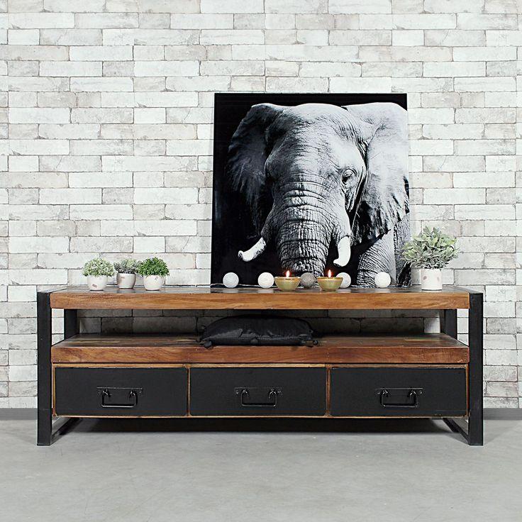 finest choisissez un meuble industriel de qualit avec ce meuble tv en mtal noir et bois massif. Black Bedroom Furniture Sets. Home Design Ideas