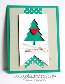 Stampin' Up! Peaceful Pines Christmas Card 2016-2018 In Color: Emerald Envy #christmas #stampinup www.juliedavison.com