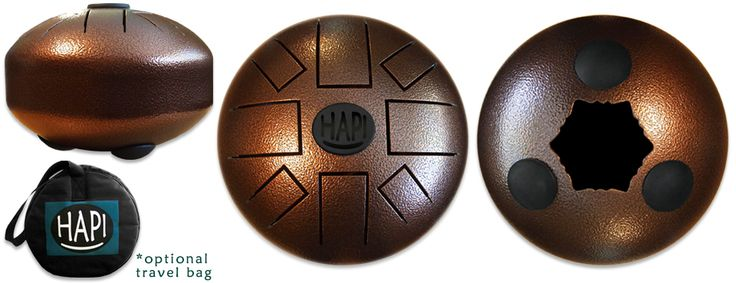 Hapi Steel Tongue Drums. Page for mini drum has 3 videos showing different tones
