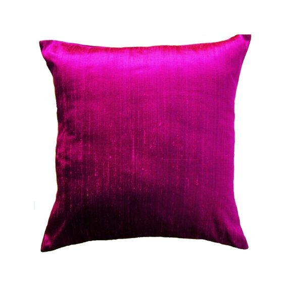 Is it pink or is it purple? So hard to tell! This silk pillow cover is even prettier in person than the photo. Magenta silk dupioni with a nice
