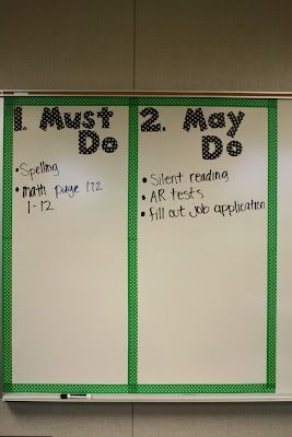 """I fill this out first thing in the morning and change it throughout the day, works very well! Students have to complete the MUST DOs and then MAY DOs. Never again will you hear the question, """"What do I do when I'm done?"""" Amazing :)"""