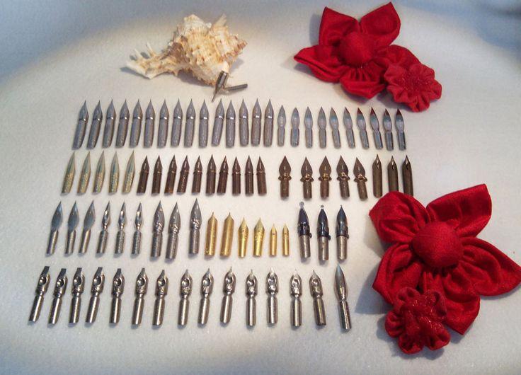 Dip pen nibs, lot of 82 nibs, wholesale, vintage 50 s 60 s, calligraphy