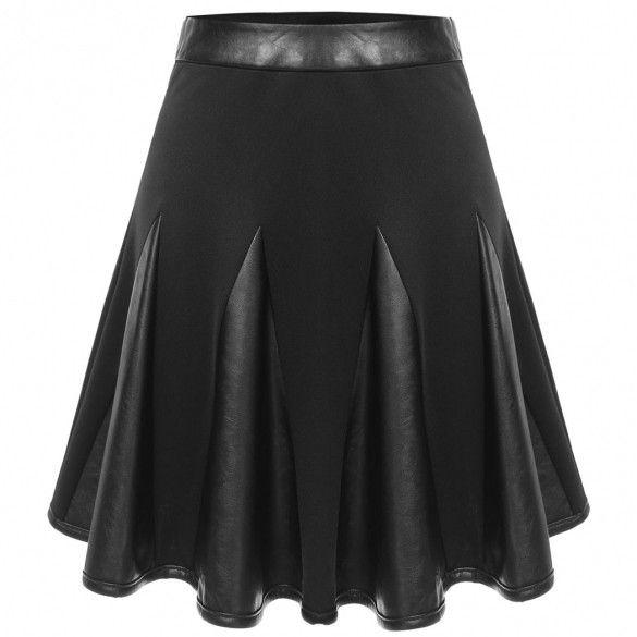 Fashion Womens Basic Versatile Flared Skirt