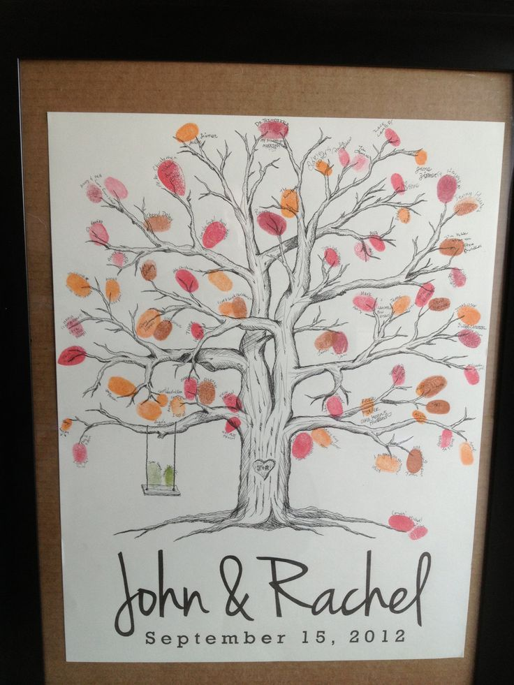 Wedding Tree Fingerprint Guest Book. $79.00, via Etsy. Can use different colored fingerprints for each side of the family:
