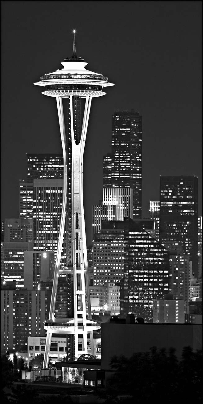 City of dreams: Spaces, Space Needle, Washington State, Favorite Places, Black White, Top