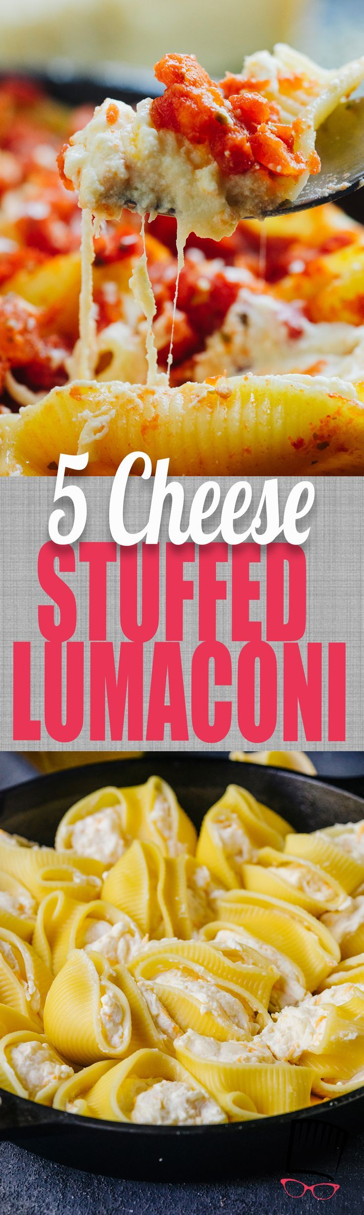 Five kinds of cheese, tender-chewy pasta, and a simple tomato sauce makes this five cheese Stuffed Lumaconi fancy enough for company and totally crave-able.