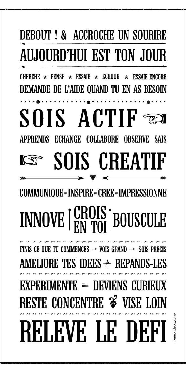 °°°philosphie de l'atelier 27 géré par Hélène°°° Tableau Déco de motivation - impression Bio sur toile 100% coton - fait main en France