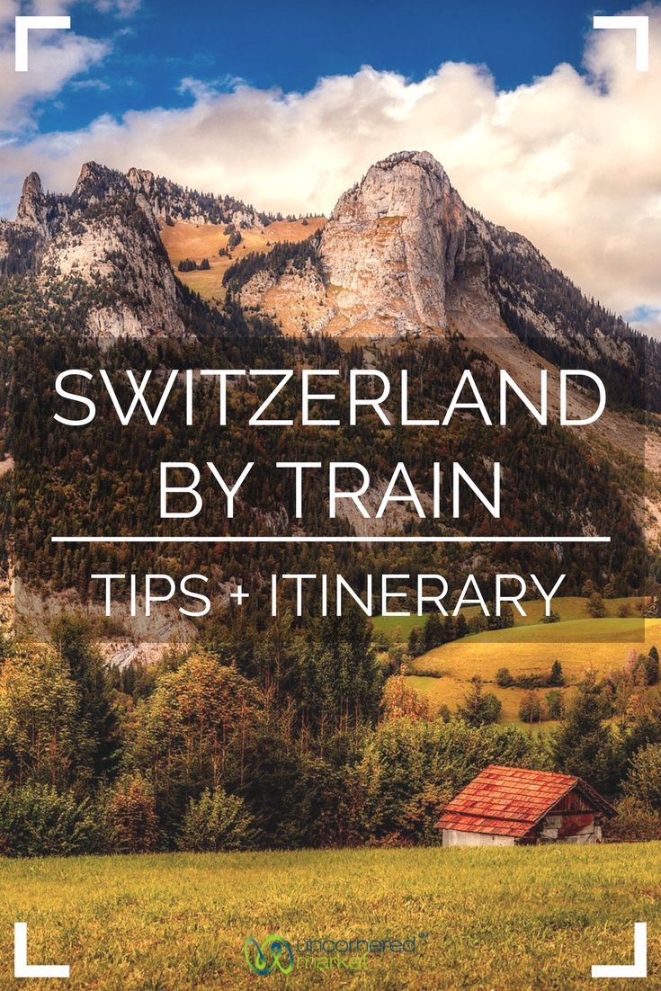 The ultimate guide and itinerary to traveling Switzerland by train.  Known for its beautiful mountain scenery, this European country is perfect to view from the seat of a train and this itinerary recommends stops in 10 locations including Basel, Montreux, and Lucerne + practical tips for your trip. | Uncornered Market Travel Blog
