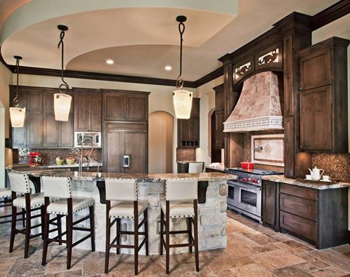 This custom curved kitchen island is perfect in this rustic/modern kitchen.  Thoughts?