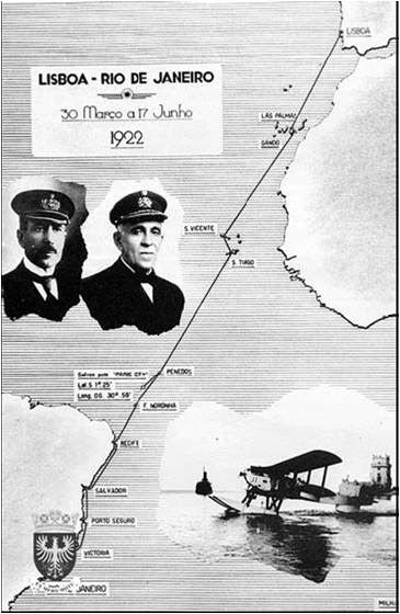 "First crossing of the south Atlantic by plane 1922. From Lisbon to Rio de Janeiro. ""Lusitania"" hydroplane piloted by two navy officers: Sacadura Cabral and Gago Coutinho."