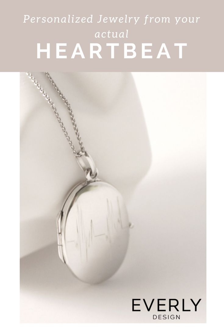 "Personalized Gift - Have your ACTUAL HEARTBEAT on this beautiful Silver ""Laquette"" Locket Necklace. Download the Everly Design App to Give a Gift from Your Heart (Literally)!"