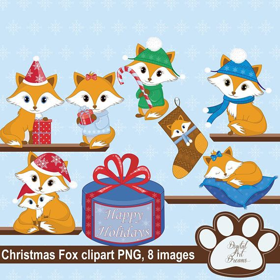 Christmas Fox Clipart Cute Foxes PNG Xmas Fox Graphics