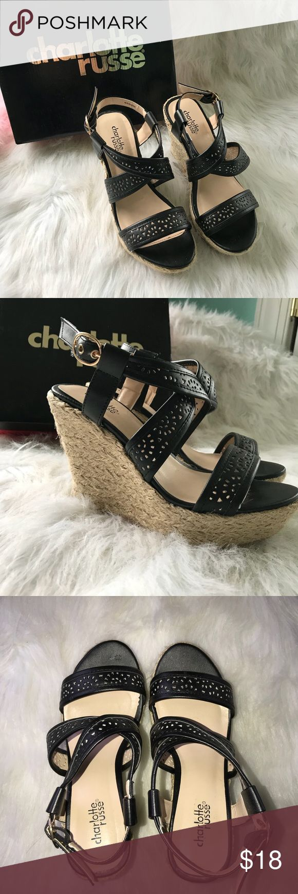 Black strappy wedges Charlotte Russe Black strappy Wedges. Perfect condition. Never worn. Charlotte Russe Shoes Wedges