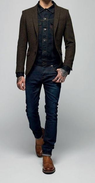 Men's Navy Denim Jacket, Dark Brown Wool Blazer, Navy Jeans, and Brown Leather Chelsea Boots