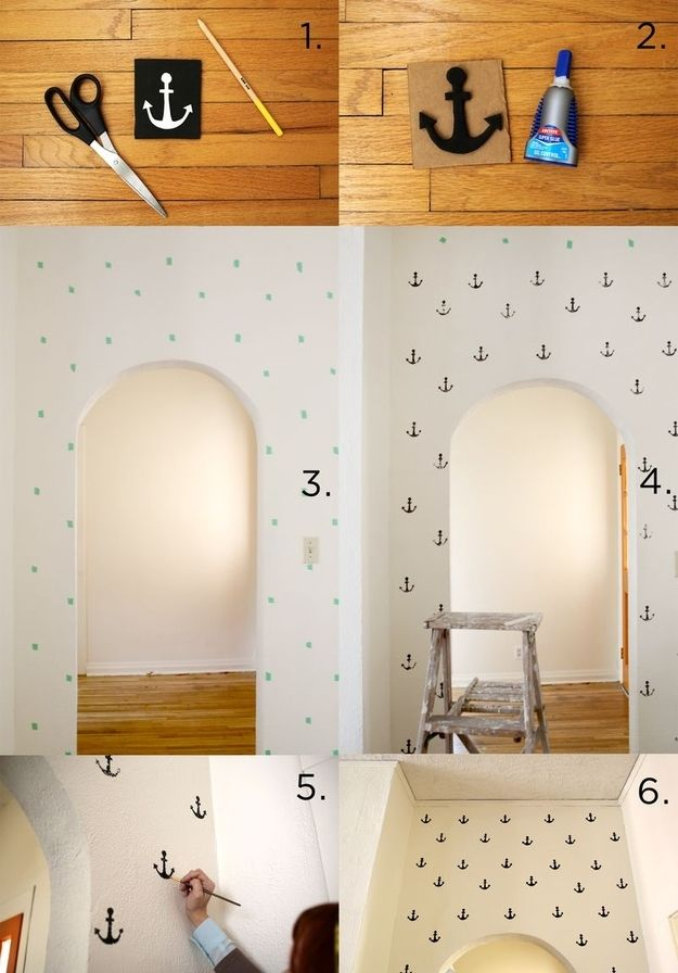 Anchor Print Wall | 36 Utterly Charming Nautical DIYs ~ I believe #3 is where they've marked placement of stencils with stick note strips. Simply remove stick note strips as you stencil.