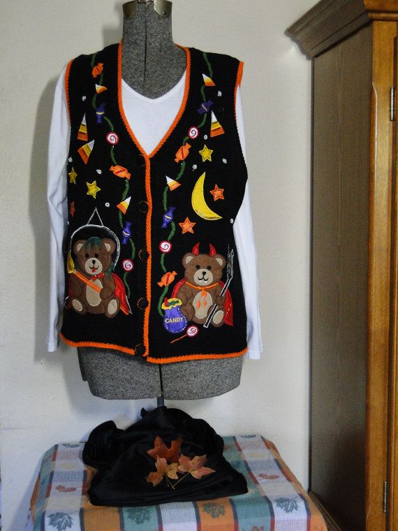Ugly Halloween Sweater Vest Large Cheap  by ABetterSweaterShop
