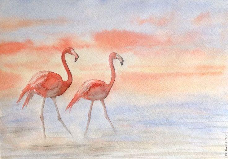 Купить Картина розовые фламинго. Акварель. - розовый, голубой, розовый фламинго, пара фламинго, восход