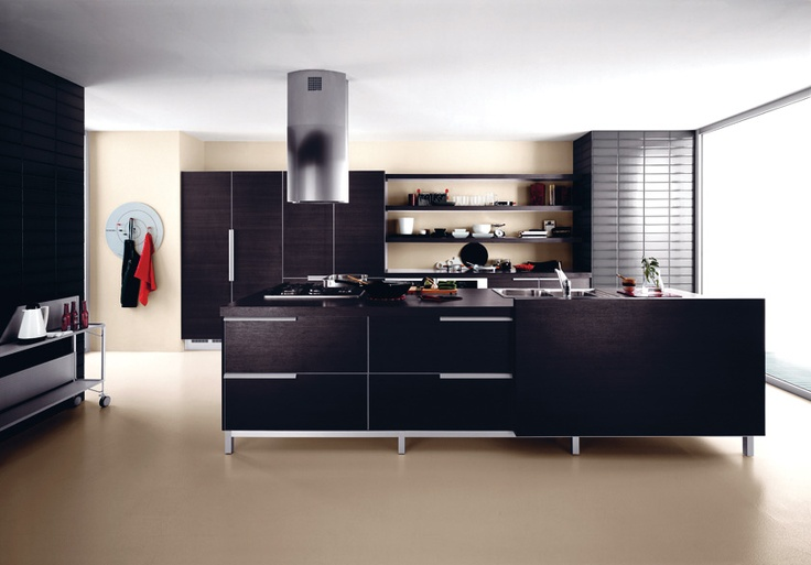 Essenzialità e funzionalità per #Ariel in rovere moro. Minimalism and functionality for dark oak Ariel. #Cesar #Cucine #Kitchens